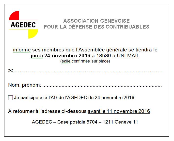 Assemblée Générale du 24.11.16